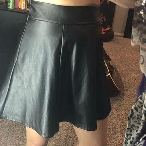Cute High Rise Shiny Black Skater Circle Skirt
